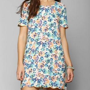 COINCIDENCE & CHANCE | Neon Floral Shift Dress Lg